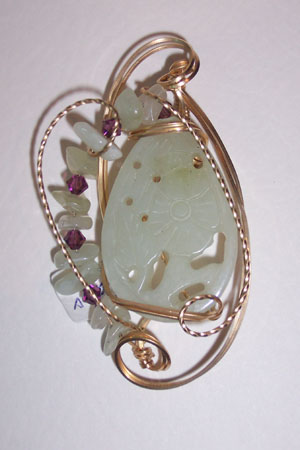 Carved Jade Pendant - Amethyst crystals