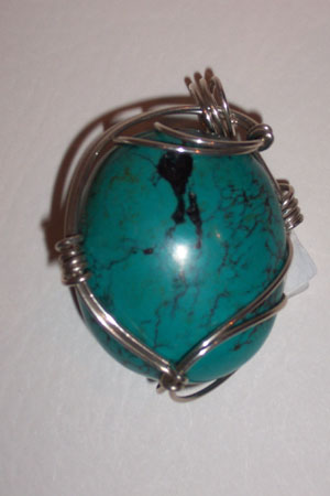 Turquoise Nugget Pendant - Click Image to Close