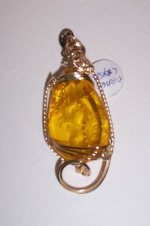 Faceted Etched Glass Pendant